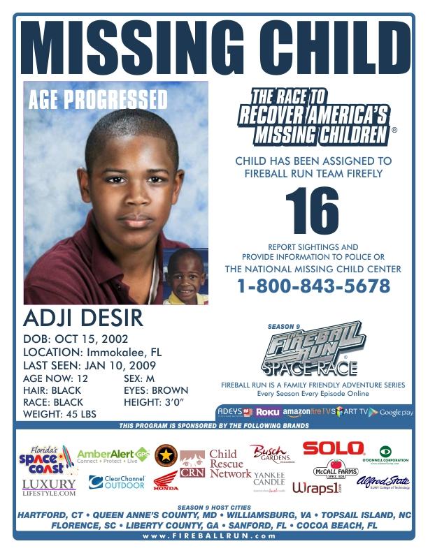 Fireball Run Adventurally – Missing Child Poster Template